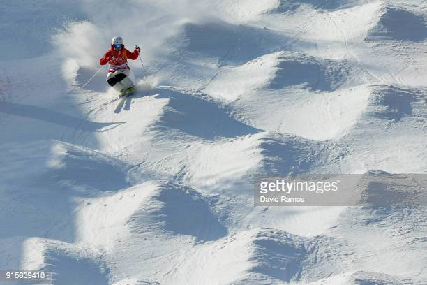 Moguls skier Daishi Hara of Japan in action during a training session ahead of the PyeongChang 2018 Winter Olympic Games at Bokwang Phoenix Snow Park...