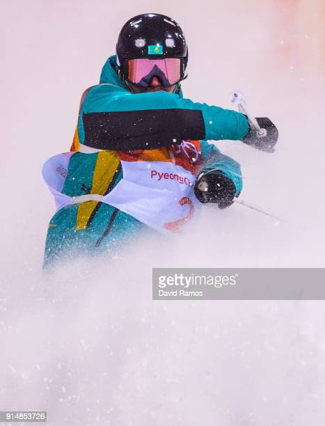 Moguls Skier Dimitriy Reikherd of Kazakhstan trains ahead of the PyeongChang 2018 Winter Olympic Games at the Bokwang Phoenix Snow Park on February 6...