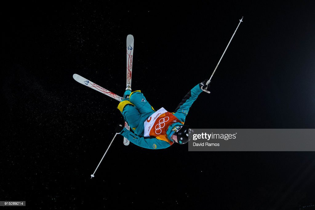 Moguls skier Dimitriy Reokherd of Kazakhstan in action during training session ahead of the PyeongChang 2018 Winter Olympic Games at Bokwang Phoenix Snow Park on February 7, 2018 in Pyeongchang-gun, South Korea.