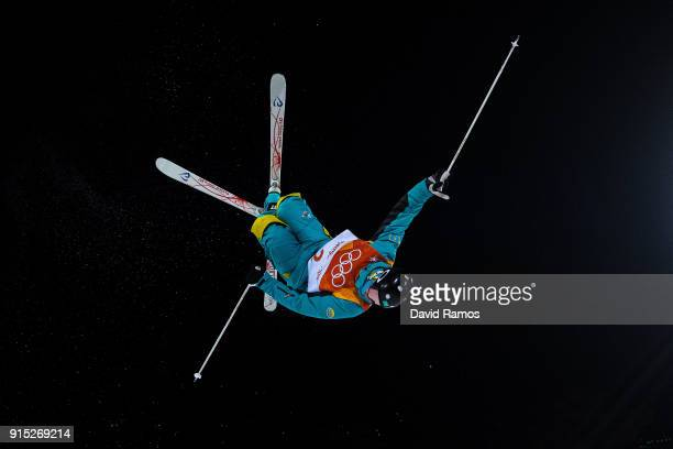 Moguls skier Dimitriy Reokherd of Kazakhstan in action during training session ahead of the PyeongChang 2018 Winter Olympic Games at Bokwang Phoenix...