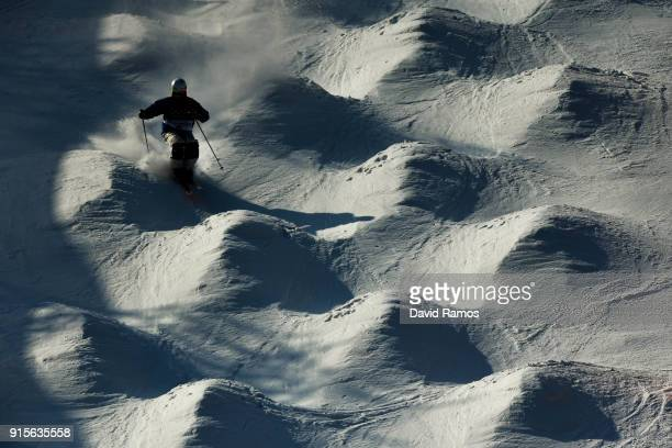 Moguls skier Jae Woo Choi of South Korea crashes during a training session ahead of the PyeongChang 2018 Winter Olympic Games at Bokwang Phoenix Snow...