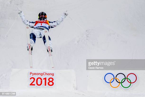 Moguls Skier Jaelin Kauf of the United States trains ahead of the PyeongChang 2018 Winter Olympic Games at the Bokwang Phoenix Snow Park on February...
