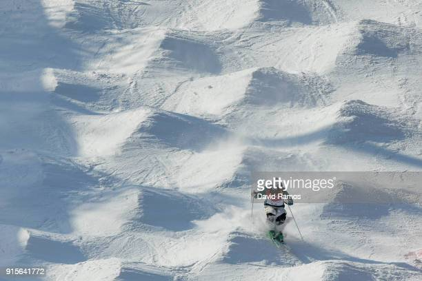 Moguls skier Jakara Anthony of Australia in action during training session ahead of the PyeongChang 2018 Winter Olympic Games at Bokwang Phoenix Snow...