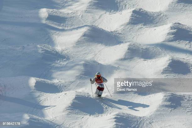 Moguls skier Justine DufourLapointe of Canada in action during training session ahead of the PyeongChang 2018 Winter Olympic Games at Bokwang Phoenix...