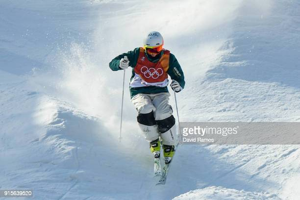 Moguls skier Matt Graham of Australia in action during a training session ahead of the PyeongChang 2018 Winter Olympic Games at Bokwang Phoenix Snow...