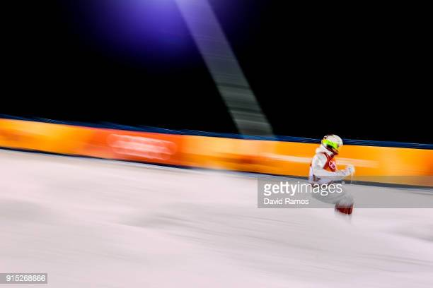 Moguls skier Mikael Kingsbury in action during training session ahead of the PyeongChang 2018 Winter Olympic Games at Bokwang Phoenix Snow Park on...