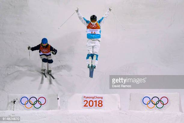 Moguls Skier Pavel Kolmakov of Kazakhstan trains ahead of the PyeongChang 2018 Winter Olympic Games at the Bokwang Phoenix Snow Park on February 6...