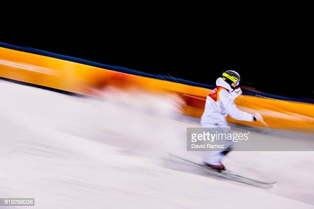 Moguls skier Walter Wallberg of Sweden in action during training session ahead of the PyeongChang 2018 Winter Olympic Games at Bokwang Phoenix Snow...