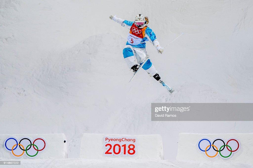 Moguls Skier Yulia Galysheva of Kazakhstan trains ahead of the PyeongChang 2018 Winter Olympic Games at the Bokwang Phoenix Snow Park on February 6, 2018 in Pyeongchang-gun, South Korea.