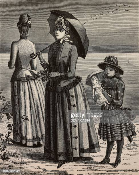 Mohair travelling dresses for women front and back views a dress for a 68 yearold girl engraving from La Mode Illustree No 31 August 2 1885