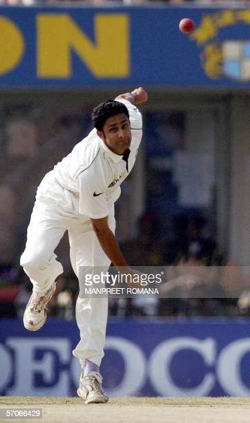 Indian cricketer Anil Kumble delivers the ball during the fifth day of the second Test match between India and England at the Punjab Cricket...