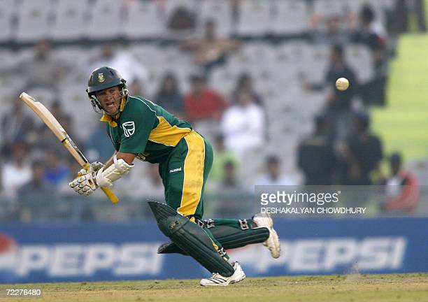 South African batsman Mark Boucher takes a short run during a ICC Champions Trophy 2006 tournament match at The Punjab Cricket Association Stadium in...