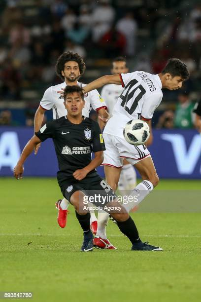 Mohamad Al Attas of Al Jazira in action against Erick Sanchez of Pachuca during the 2017 FIFA Club World Cup consolation match between Al Jazira and...
