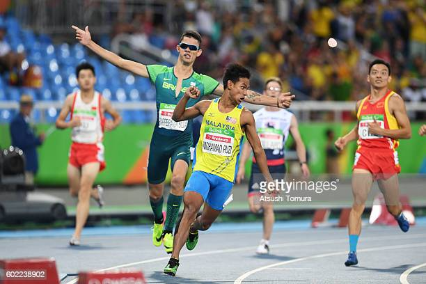 Mohamad Ridzuan Mohamad Puzi of Malaysia celebrates after winning the men's 100m T36 final on day 3 of the Rio 2016 Paralympic Games at Olympic...