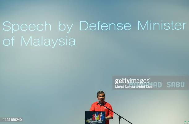 Mohamad Sabu Defence Minister Of Malaysia give a speech during the celebrating democracy in Malaysia marked by Democracy Fest 2019 on February 16...