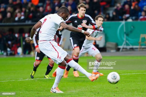 Mohamadou Idrissou of 1 FC Kaiserslautern misses a chance at goal during the DFB Cup quarterfinal match between Bayer Leverkusen and 1 FC...