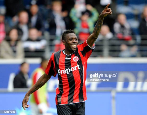 Mohamadou Idrissou of Frankfurt celebrates after scoring his teams first goal during the Second Bundesliga match between Eintracht Frankfurt and FC...
