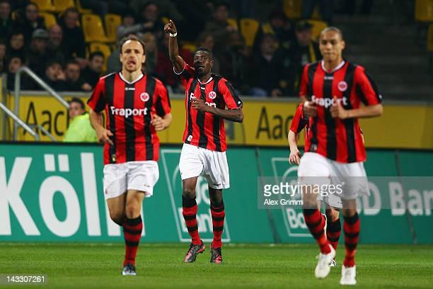 Mohamadou Idrissou of Frankfurt celebrates his team's first goal during the Second Bundesliga match between Alemannia Aachen and Eintracht Frankfurt...