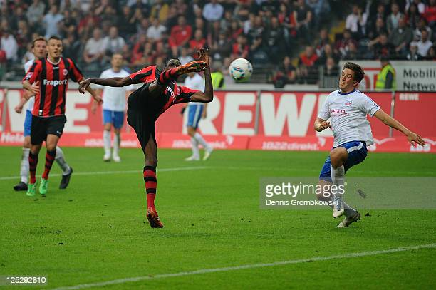 Mohamadou Idrissou of Frankfurt scores his team's third goal during the Second Bundesliga match between Eintracht Frankfurt and Hansa Rostock at...