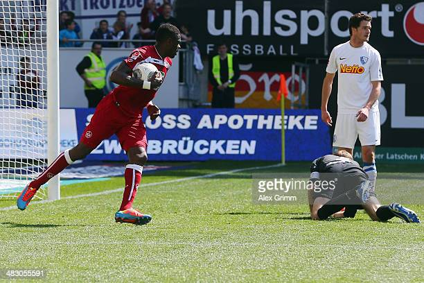 Mohamadou Idrissou of Kaiserslautern celebrates his team's first goal during the Second Bundesliga match between 1 FC Kaiserslautern and VfL Bochum...