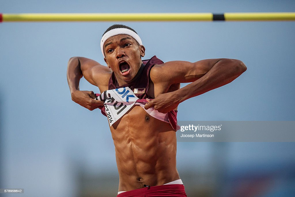 Mohamat Allamine Hamdi from Qatar celebrates winning a bronze medal in men's high jump during the IAAF World U20 Championships at the Zawisza Stadium on July 22, 2016 in Bydgoszcz, Poland.