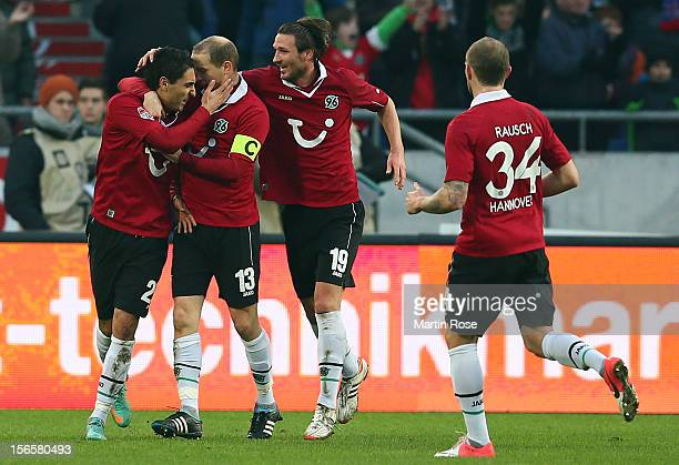 Mohamed Abdellaoue of Hannover celebrates after he scores his team's 1st goal during the Bundesliga match between Hannover 96 and SC Freiburg at AWD...