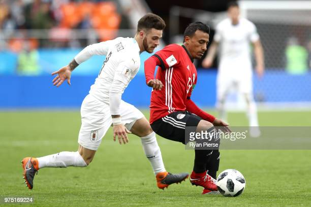 Mohamed Abdelshafy of Egypt is challenged by Nahitan Nandez of Uruguay during the 2018 FIFA World Cup Russia group A match between Egypt and Uruguay...