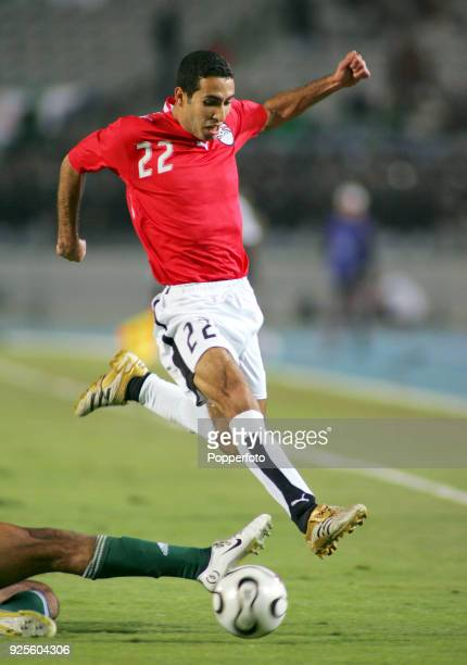 Mohamed Abou Treka of Egypt in action during the opening football match of the Africa Cup of Nations against Libya at Cairo International Stadium on...