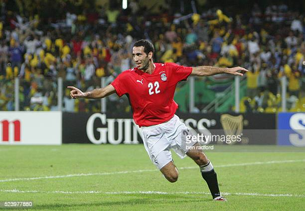Mohamed Abouterika of Egypt celebrates scoring the winning goal during the Final of the 2008 African Cup of Nations between Cameroon and Egypt at the...