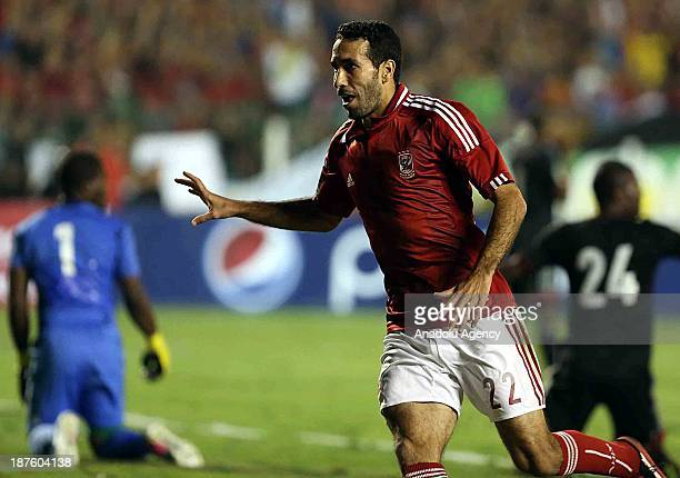 Mohamed Aboutreika of Al Ahly celebrates after scoring a goal during the CAF Champions League second leg final match between South Africa's Orlando...
