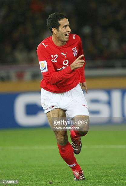 Mohamed Aboutrika of Ahly Sporting Club celebrates after scoring goal during the FIFA Club World Cup Japan 2006 third place playoff match between...
