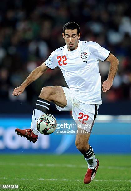 Mohamed Aboutrika of Egypt in action during the FIFA Confederations Cup Group A match between Egypt and Italy at the Ellis Park Stadium on June 18...