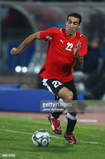 Mohamed Aboutrika of Egypt runs with the ball during the FIFA Confederations Cup match between Egypt and USA at Royal Bafokeng Stadium on June 21...