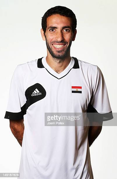 Mohamed Aboutrika of the Egypt Men's Olympic Football Team at the Hilton Hotel on July 24 2012 in Cardiff Wales