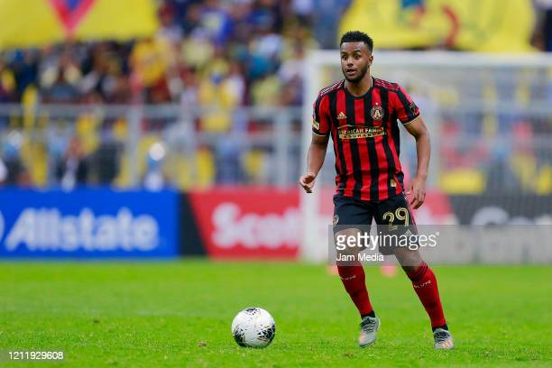 Mohamed Adams of Atlanta United drives the ball during a quarter final first leg match between Club America and Atlanta United as part of CONCACAF...