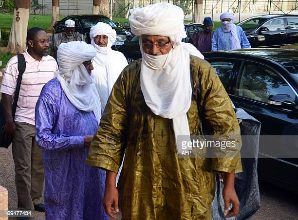 Mohamed Ag Intalla , secretary general of a delegation of the High Council of the Azawad, a territory in northern Mali, arrives at the presidential...