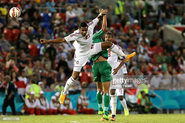 Mohamed Ahmad Gharib of United Arab Emirates heads the ball during the Third Place 2015 Asian Cup match between Iraq and the United Arab Emirates at...