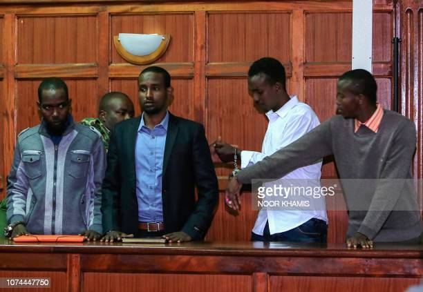 Mohamed Ahmed Abdi Liban Abdullah Omar Adan Mohamed Ibrahim and Hussein Hassan Mustafah appear at the Milimani High Court in Nairobi Kenya on...