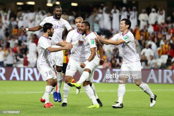 Mohamed Ahmed of Al Ain celebrates after scoring his team's first goal with his team mates during the FIFA Club World Cup UAE 2018 Second round match...