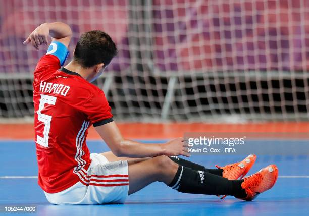 Mohamed Ahmed of Egypt reacts after the third goal by Argentina in the Men's Futsal 3rd Place match between Egypt and Argentina during the Buenos...