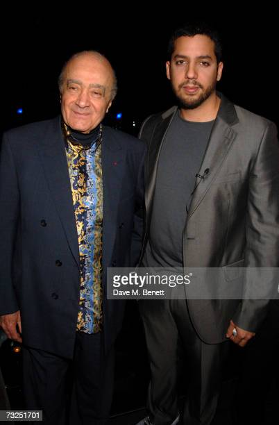 Mohamed Al Fayed and David Blaine attend the launch party of the new LG Shine mobile phone, at Club Cirque on February 7, 2007 in London, England.