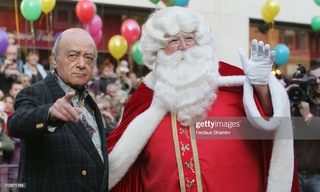 Mohamed Al Fayed And Father Christmas Attend Harrods Parade At On November 3