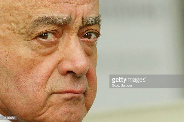 Mohamed Al Fayed arrives to attend the opening of the inquest into the death of Diana Princess Of Wales on January 06 2004 in London England Al...