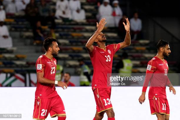 Mohamed Al Rohaimi#13 of Bahrain celebrates after scoring their only goal during the AFC Asian Cup Group A match between United Arab Emirates and...