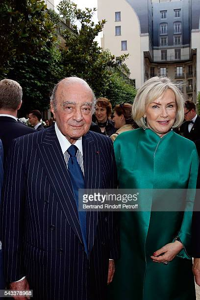 Mohamed AlFayed and his wife Heini Wathen attend the Colonne Vendome Is Unveiled After Restoration Works on June 27 2016 in Paris France