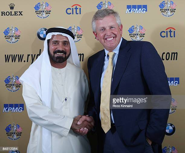 Mohamed Ali Alabbar Chairman of Golf in Dubai and Colin Montgomerie of Scotland the 2010 RyderCup Captain attend a press conference to announce the...