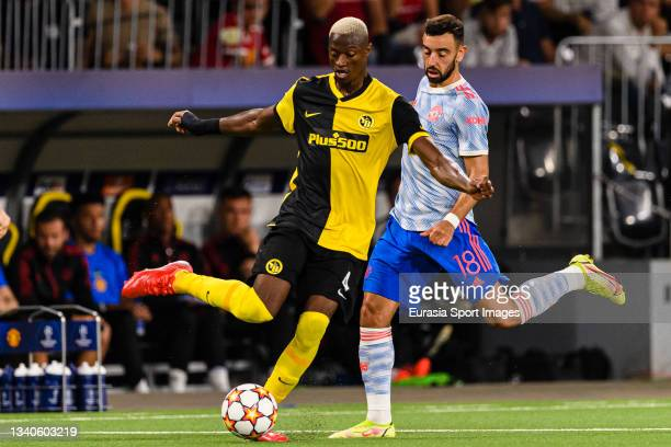 Mohamed Ali Camara of Young Boys is chased by Bruno Fernandes of Manchester United during the UEFA Champions League group F match between BSC Young...