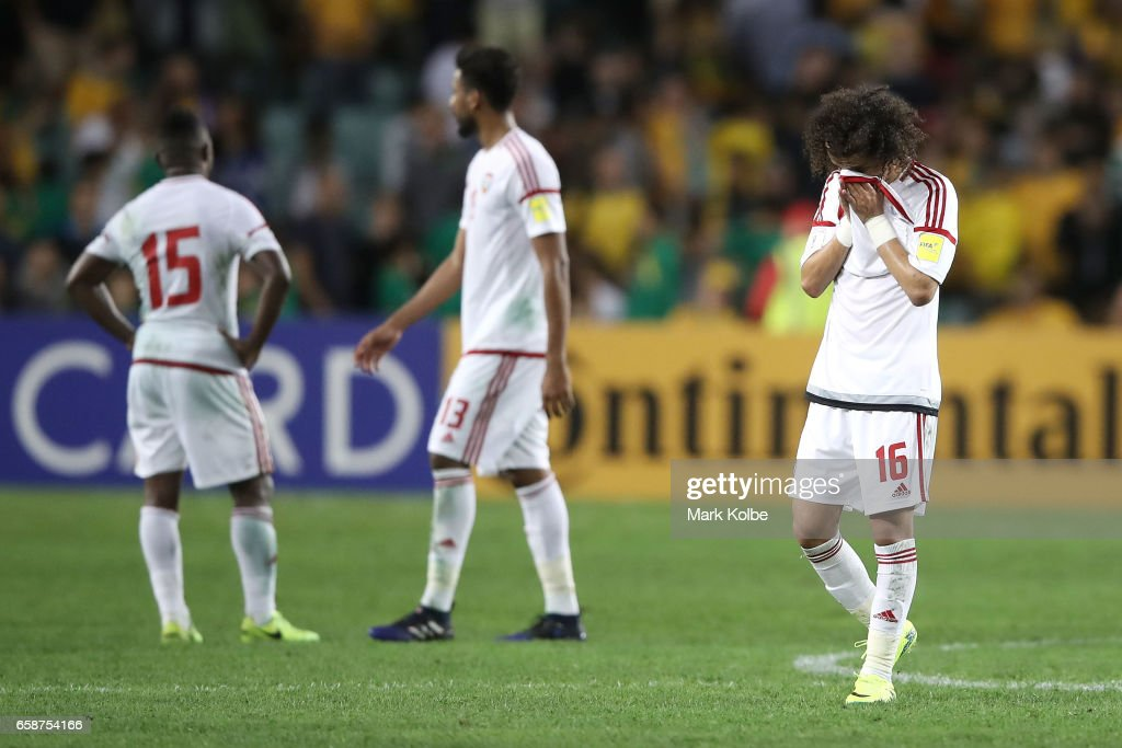 Mohamed Alraqi of the United Arab Emirates looks dejected after defeat during the 2018 FIFA World Cup Qualifier match between the Australian Socceroos and United Arab Emirates at Allianz Stadium on March 28, 2017 in Sydney, Australia.
