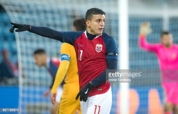 Mohamed Amine Elyounoussi of Norway during International Friendly between Norway v Australia at Ullevaal Stadion on March 23 2018 in Oslo Norway