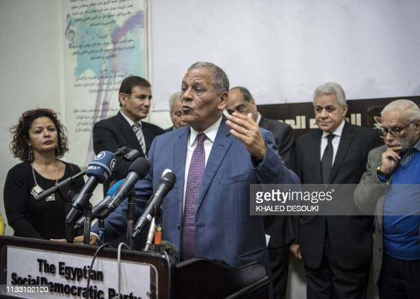 Mohamed Anwar Esmat elSadatformer member of the Egyptian parliament and nephew of the late Egyptian President Anwar alSadat speaks during a press...